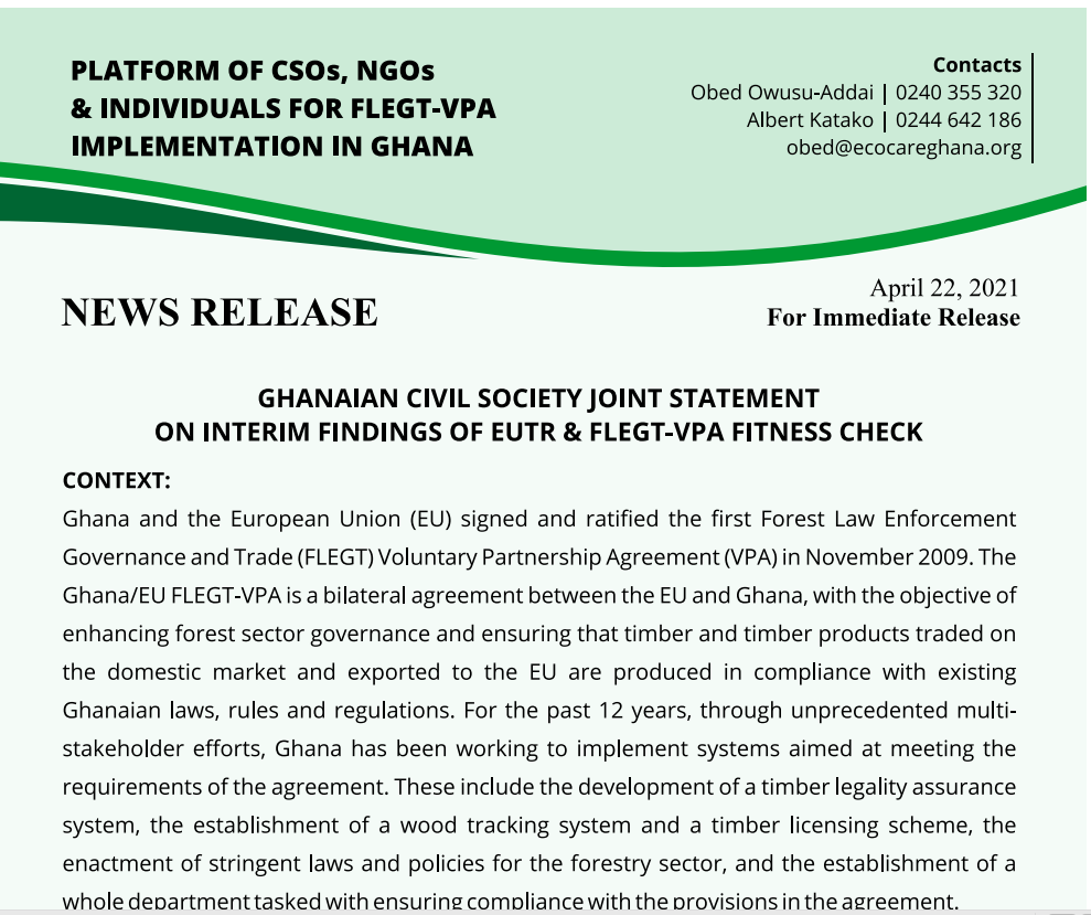 Ghanaian Civil Society Joint Statement on Interim Findings of EUTR& FLEGT-VPA Fitness Check